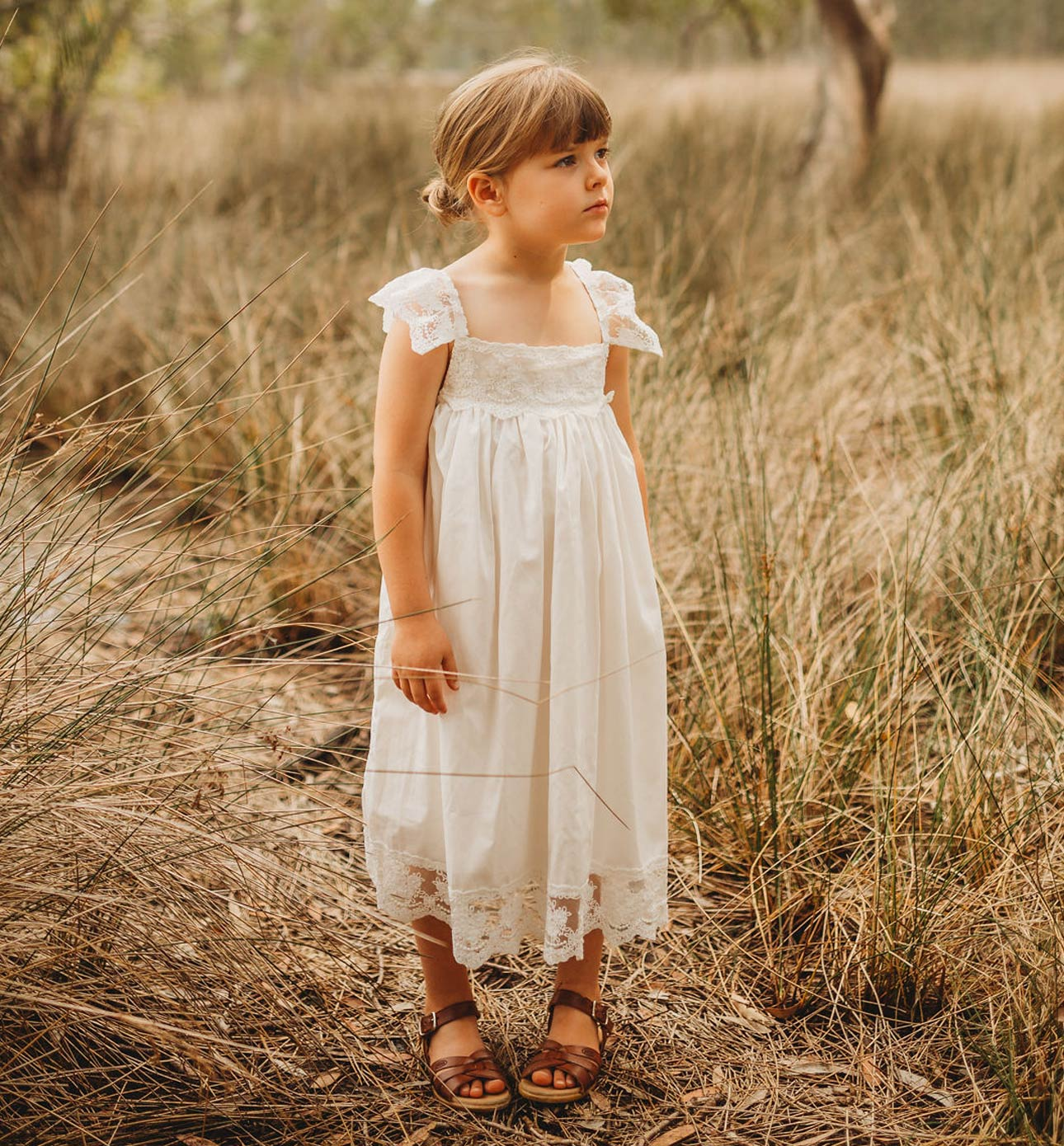 Vintage Boho Flower Girl Dress