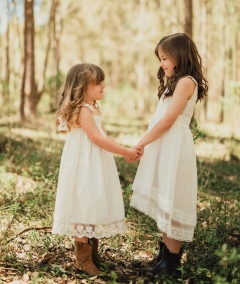 Girls Vintage Boho Flower Girl Dress