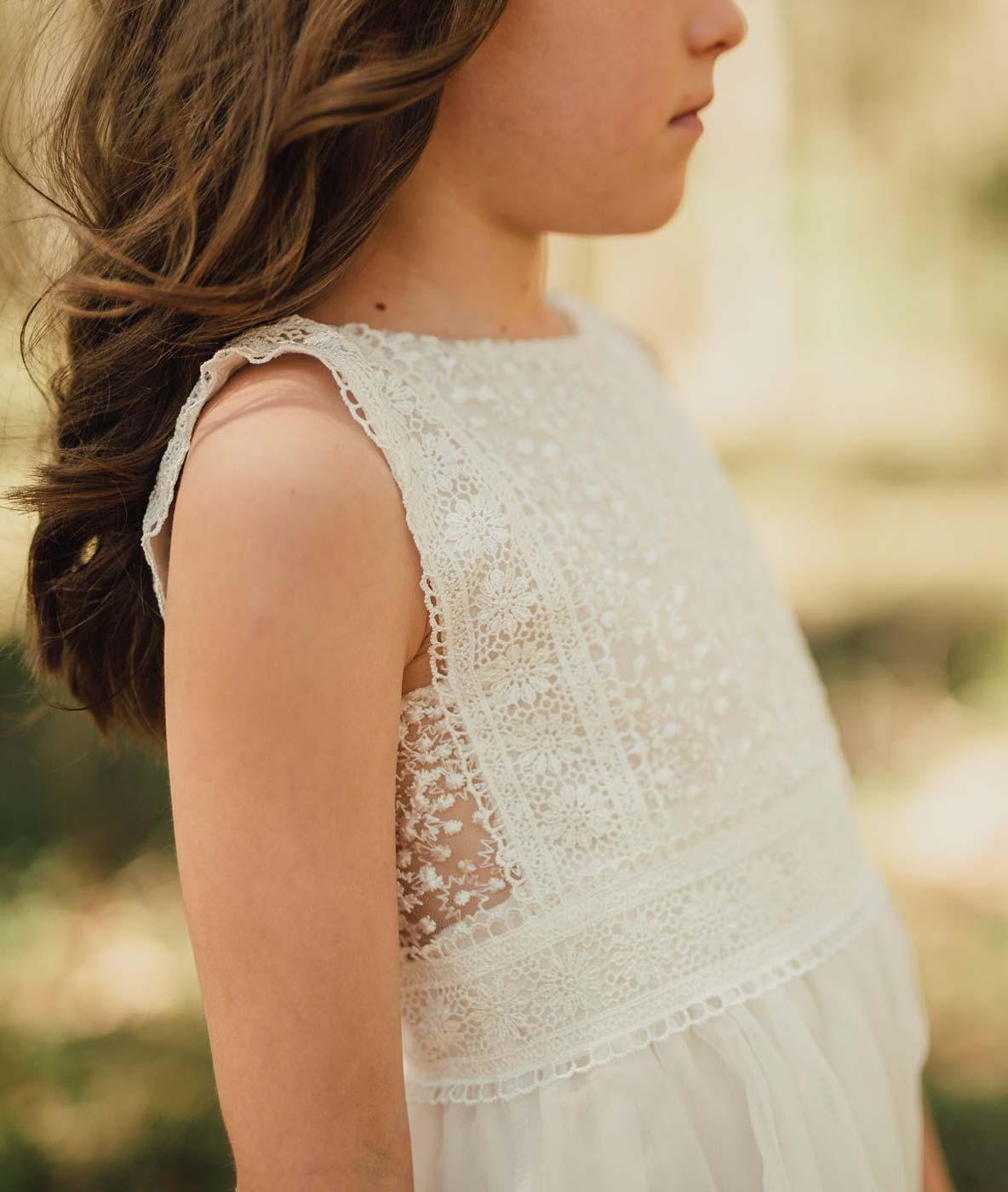 Vintage Lace Boho Flower Girl Dress