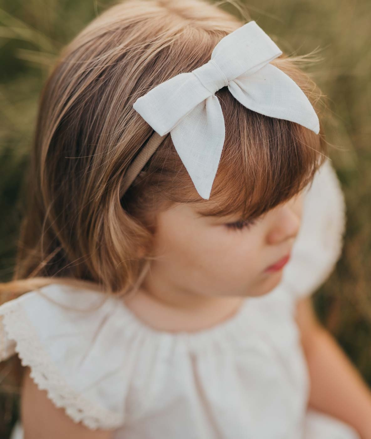 Girls Linen Bow Headband