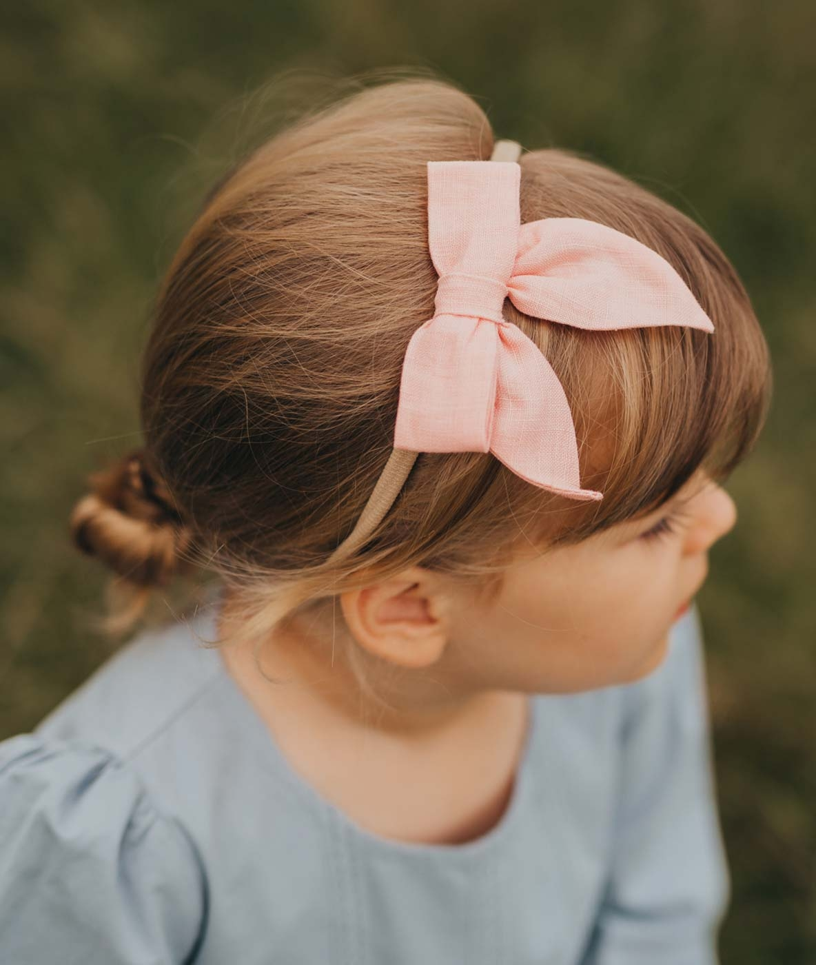 Girls Linen Bow Headband Pink