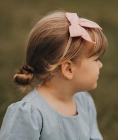 Girls Linen Bow Headband Pink