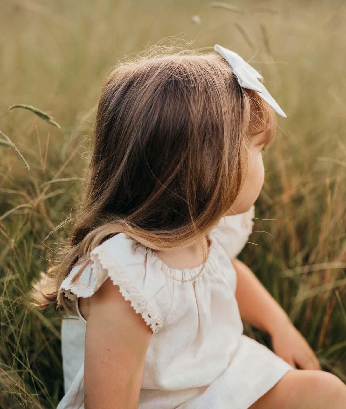 Girls Vintage Linen Dress