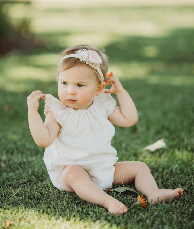 Baby Girl Vintage Linen Romper
